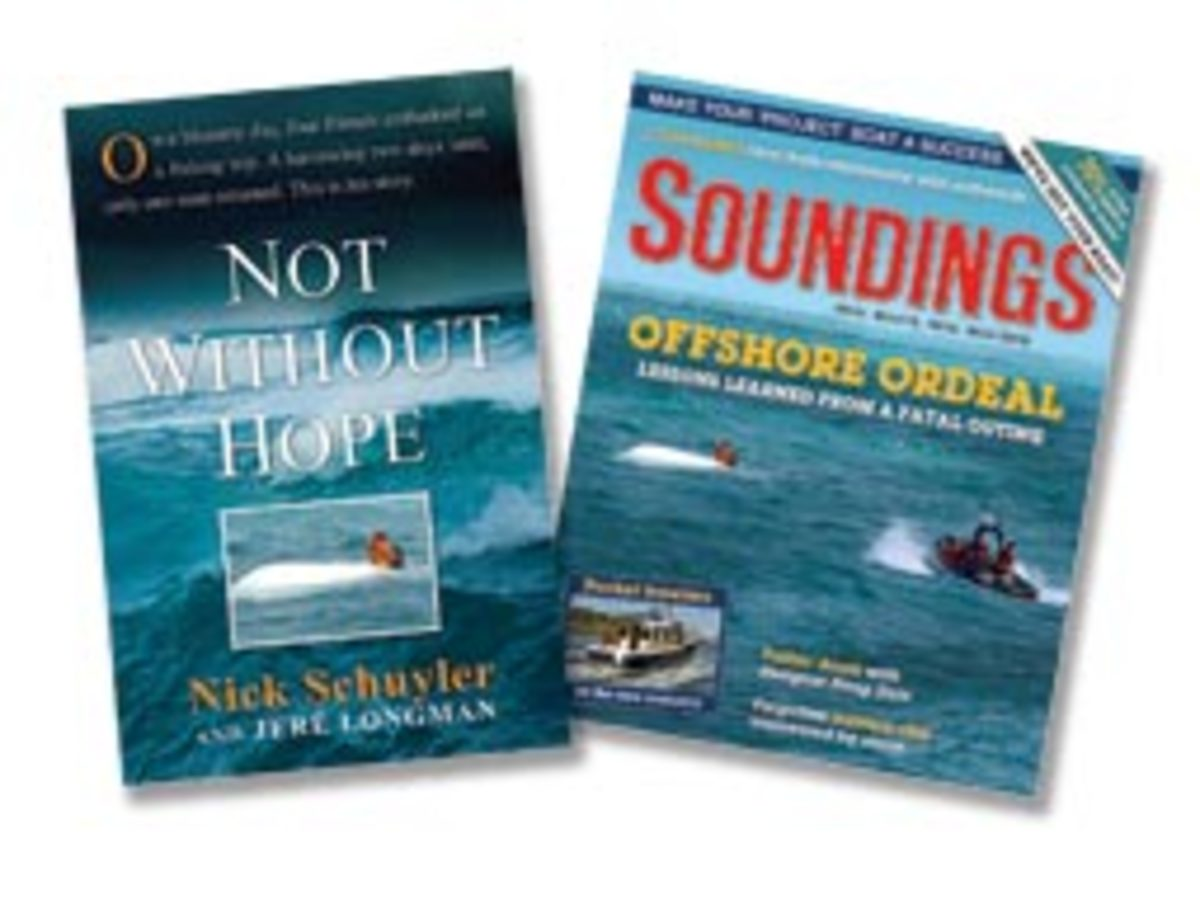 The majority of Schuyler's book focuses on the deaths of his friends. Soundings covered the capsize and then the findings of the investigation in the May (above) and June 2009 issues.