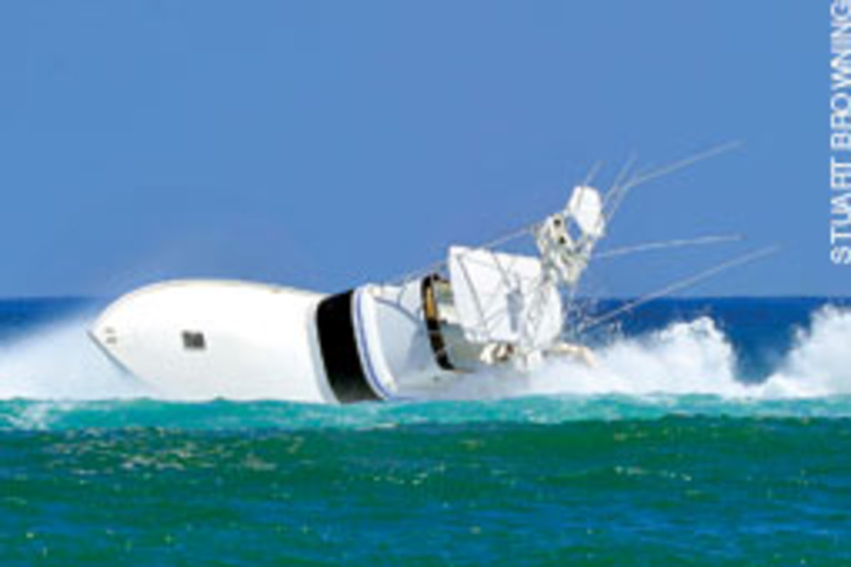 Henry was ejected from the flybridge when Waterdog slid into the trough and broached.