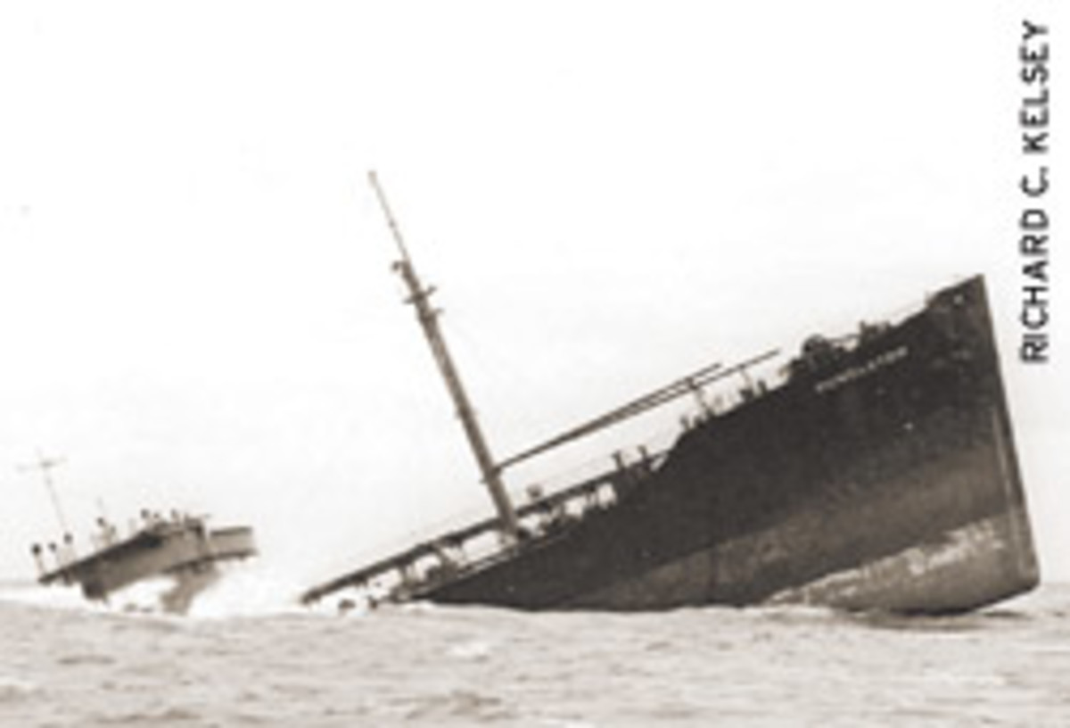 Webber had to mainatain position alongside the 503-foot SS Pendleton while the crew scrambled down the side and into the 36-foot lifeboat.