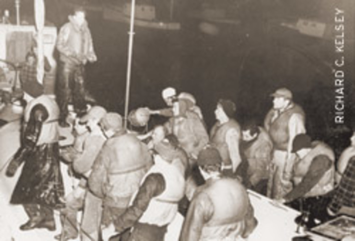 The 32 survivors of the Pendleton wreck climbed down the Jacob's ladder and into the 36-foot rescue boat.