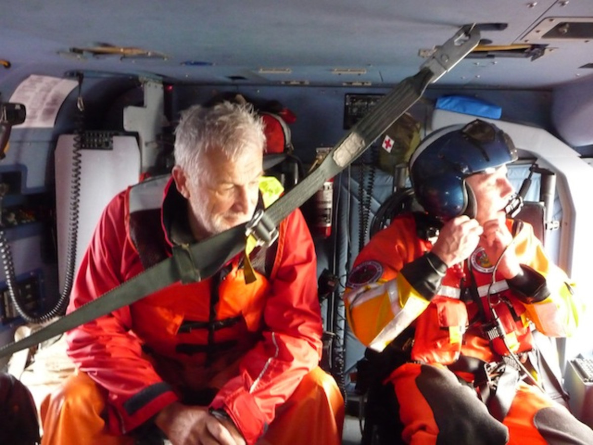 Gunther, on left, with rescue swimmer John Knight.