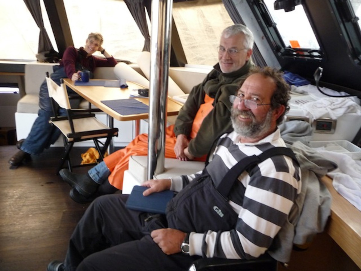 Chilling during the gale. Yes, we were very comfortable!