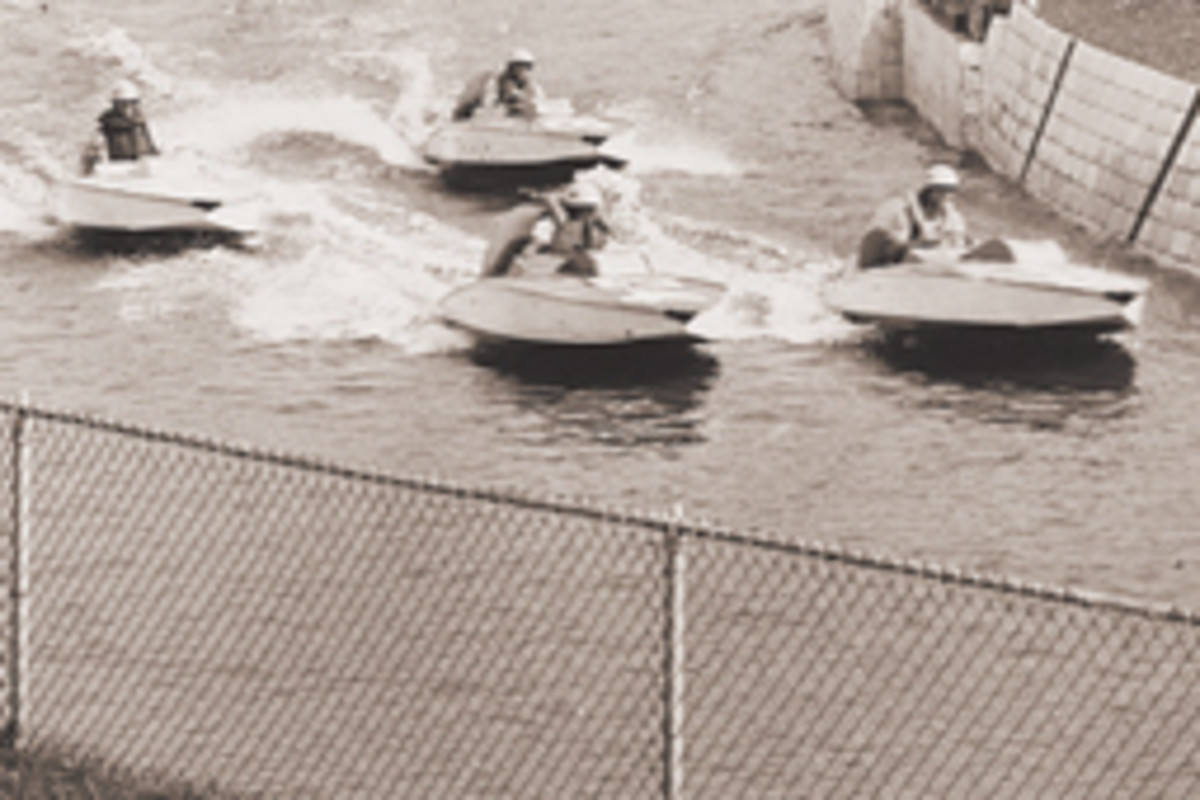 "The speedboat races were promoted as ""thrill-packed events"" at the now-defunct Danbury fairgrounds."