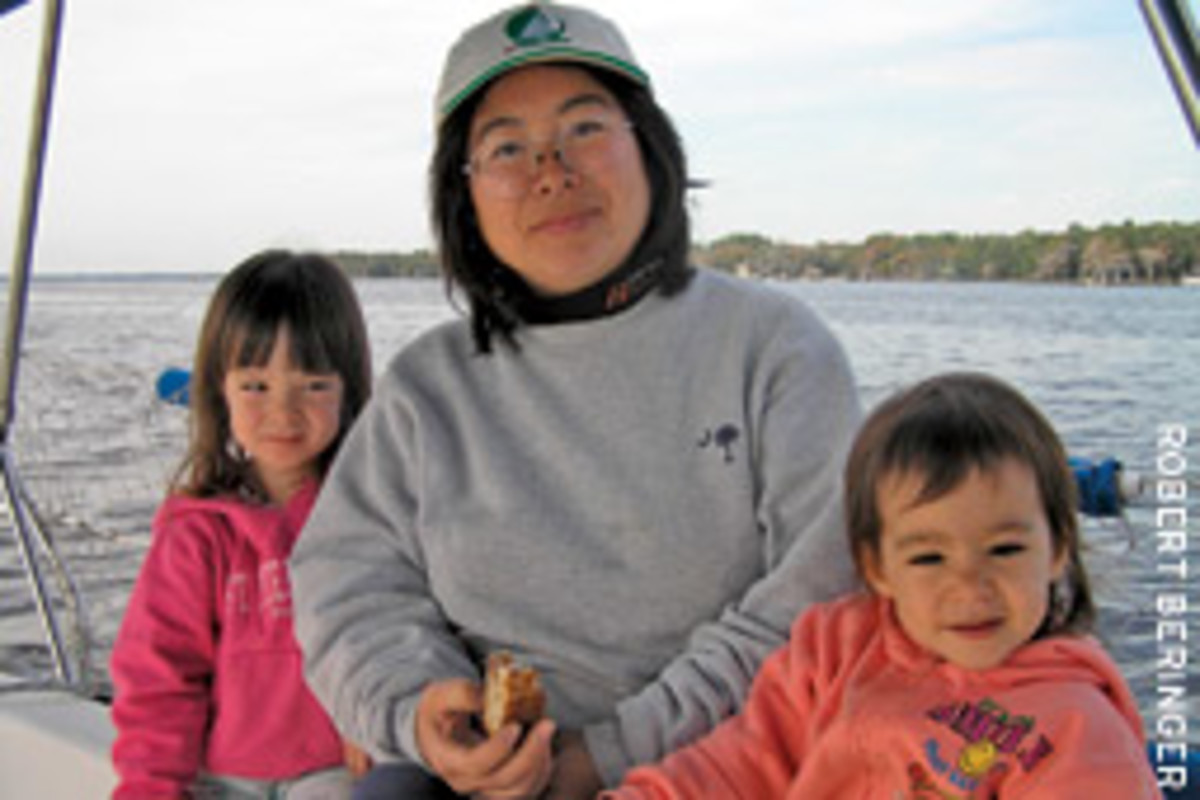 Ukiyo's crew is made up of first mate Kanako with 5-year old Chesapeake and 3-year old Rona.