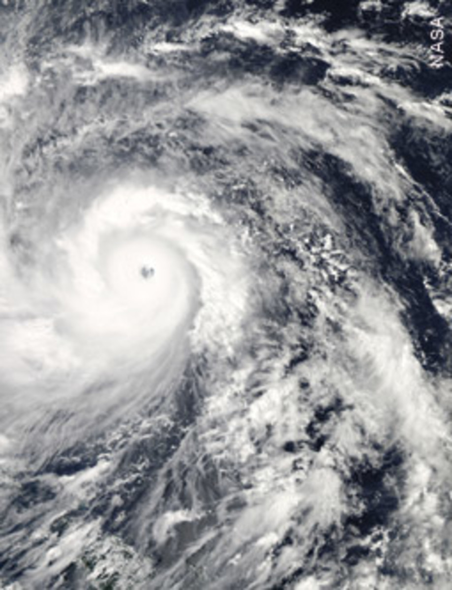 This satellite image shows the super typhoon shortly before it struck the Philippines.