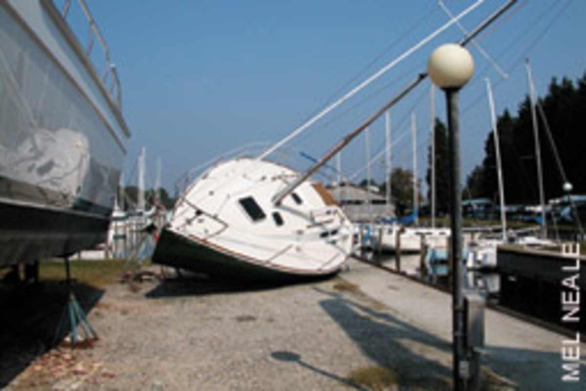 Boats stored ashore can flood or blown off their jack stands.