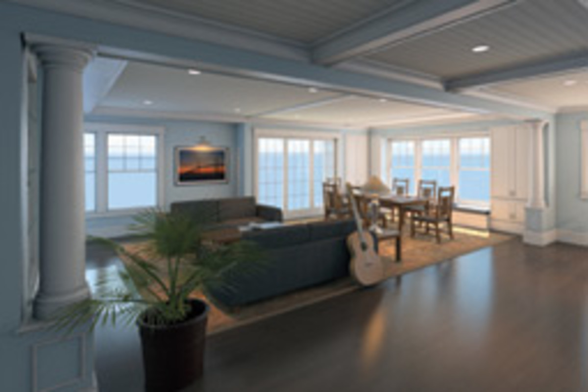 Sliding glass doors and ample windows provide harbor views.