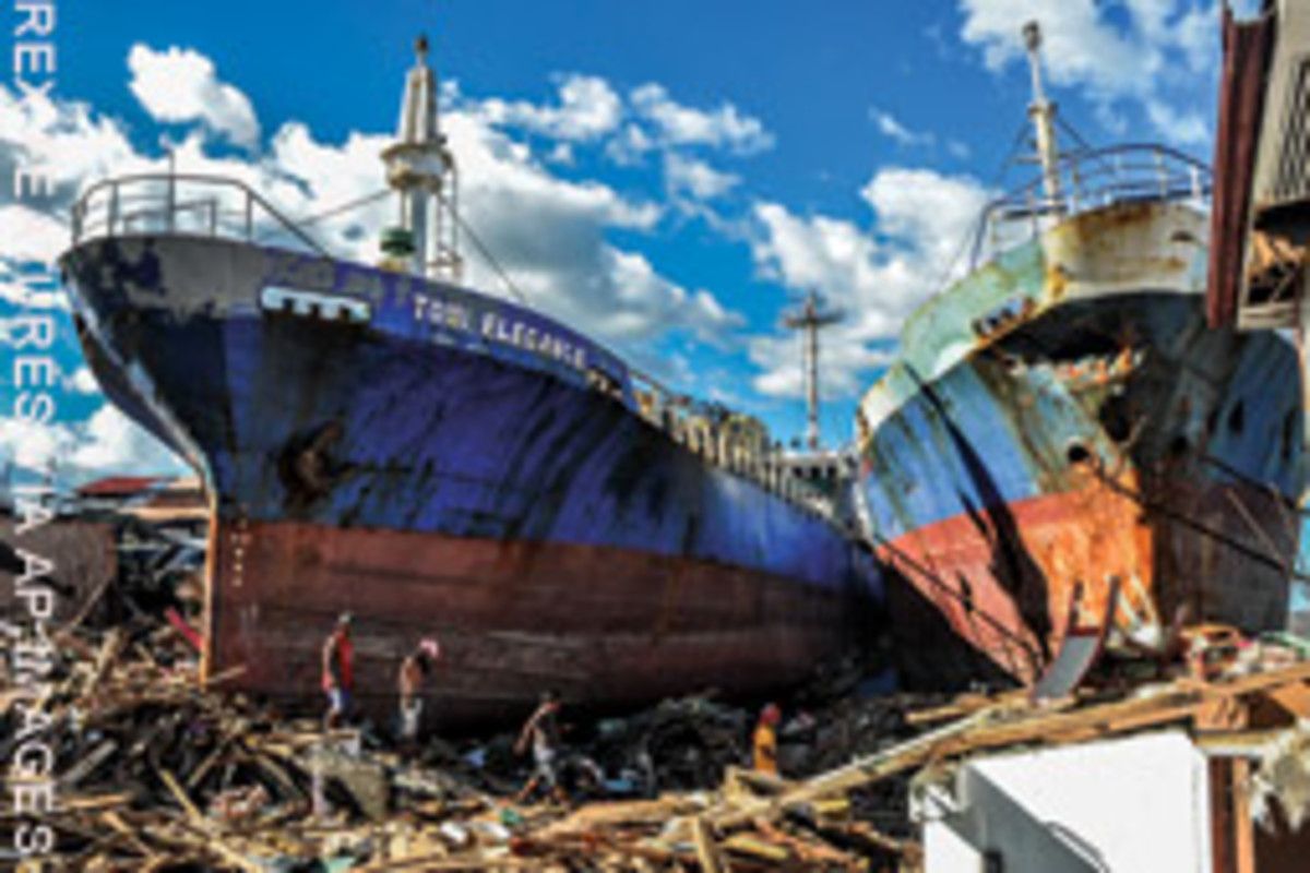 The aftermath of Typhoon Haiyan at Tacloban City in the Philippines