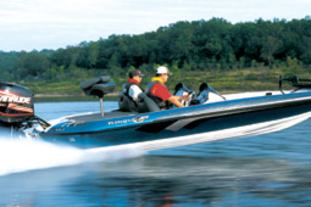 The Coopers' new Ranger Z19 Comanche, similar to this one, serves as a platform for both fishing and cruising.