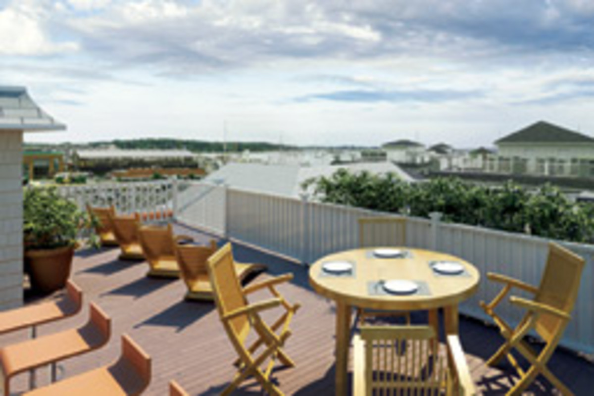 Private rooftop decks offer expansive views.
