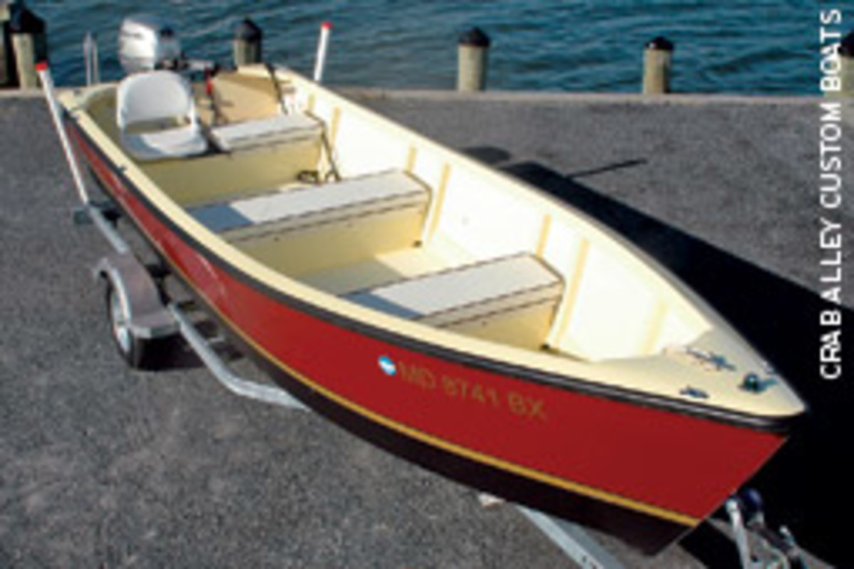 The Crab Alley 1800 with custom paint, trailer and 20-hp Honda ES-ET is $19,990.