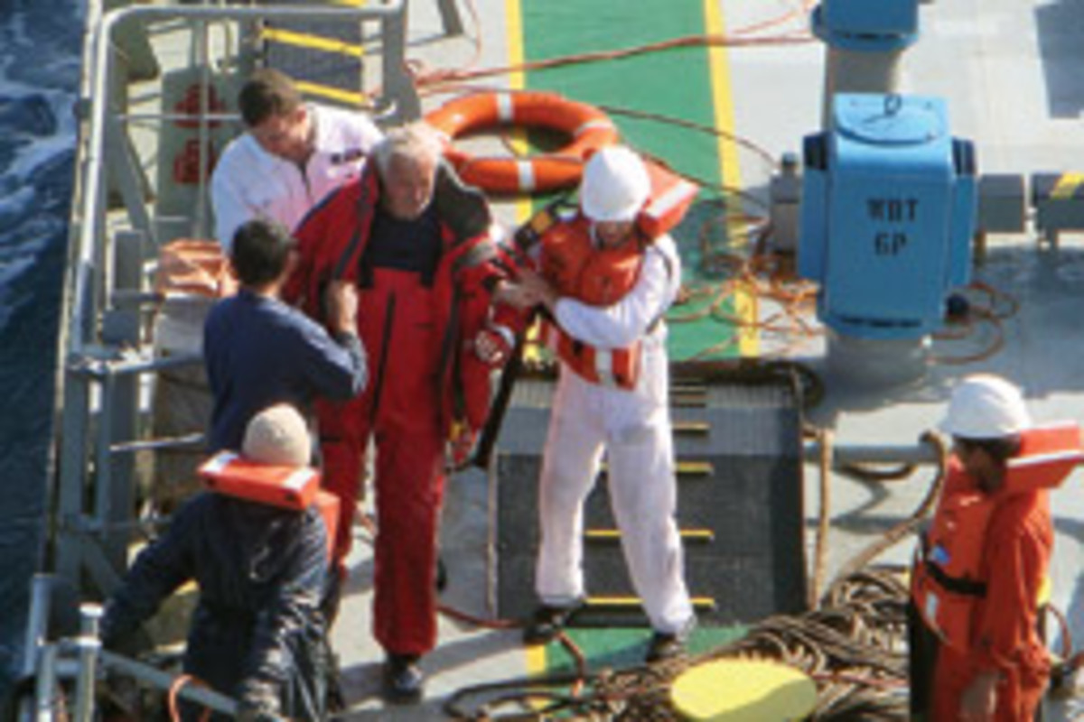 Barham receives assistance from crew on the Omega Princess.