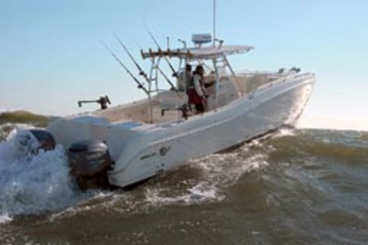 The catamaran hull form, such as this World Cat 330 TE, has low resistance to forward movement, which will reduce wave-making resistance.
