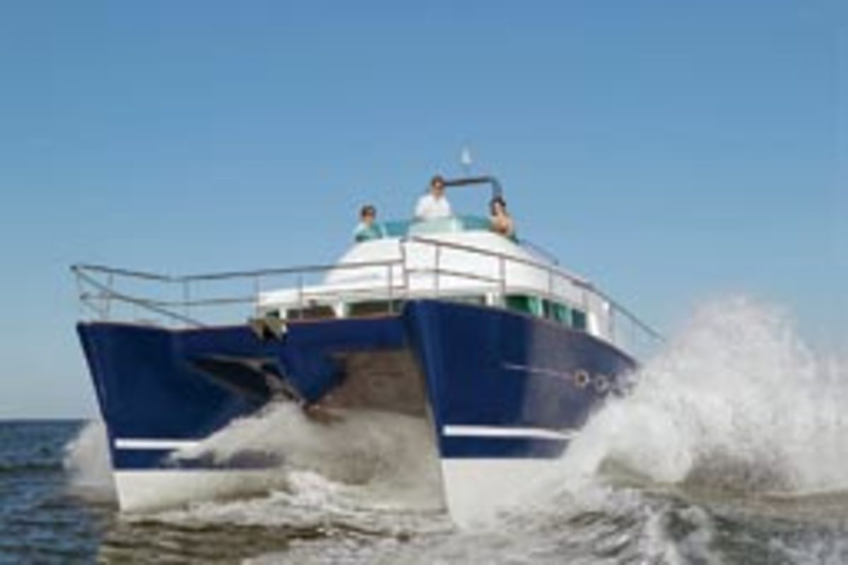 The catamaran hull form, such as this Lagoon Power 43, has low resistance to forward movement, which will reduce wave-making resistance.