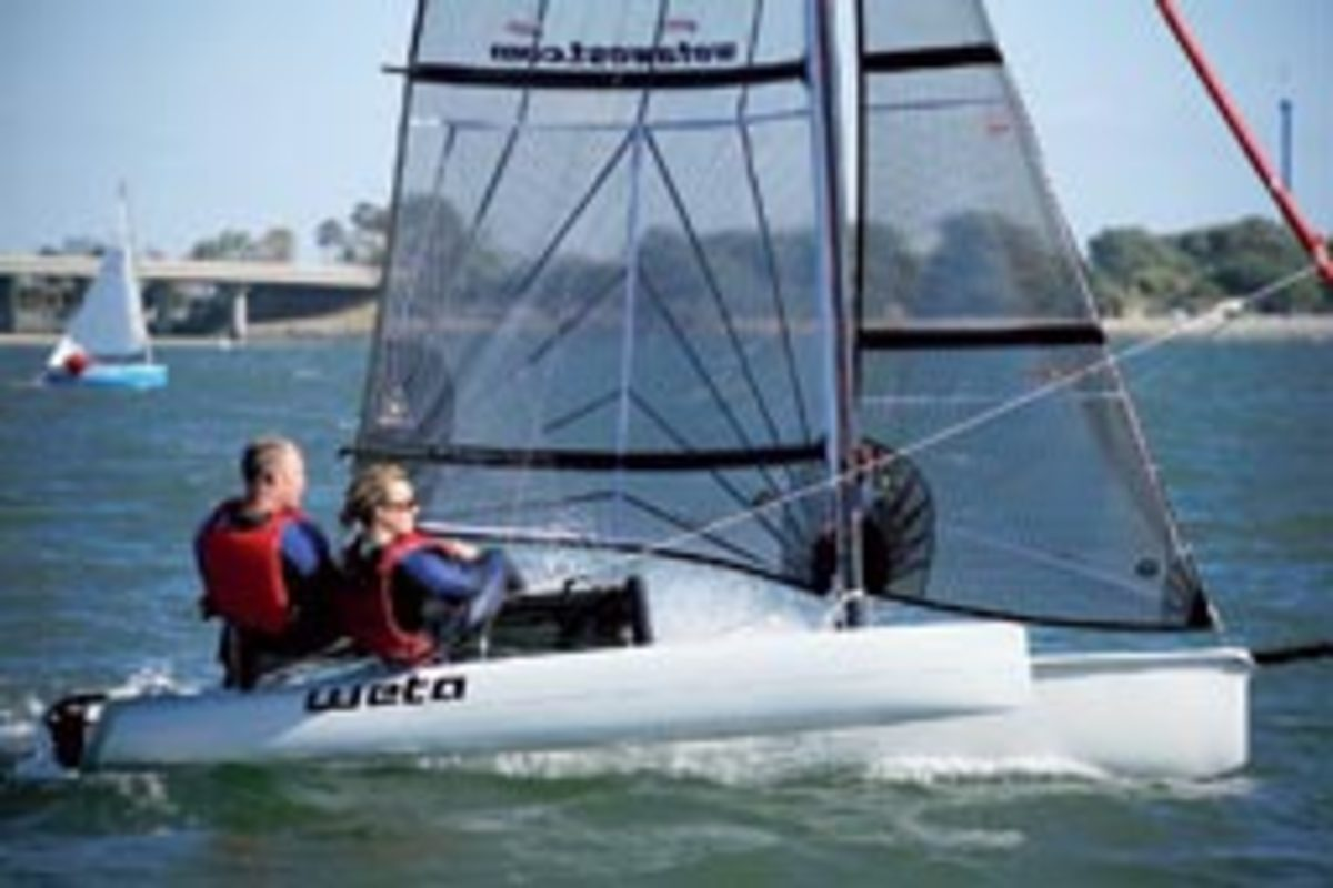 The father and son behind the New Zealand-built 14.5-foot Weta trimaran hope to recapture the spirit of early Hobie cats.