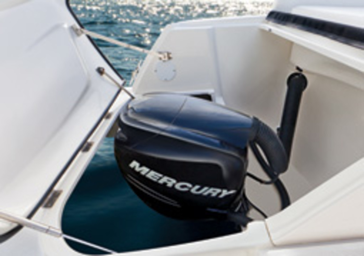 A 'snorkel' hose takes in the fresh air for each of the Sea Ray's Verados.