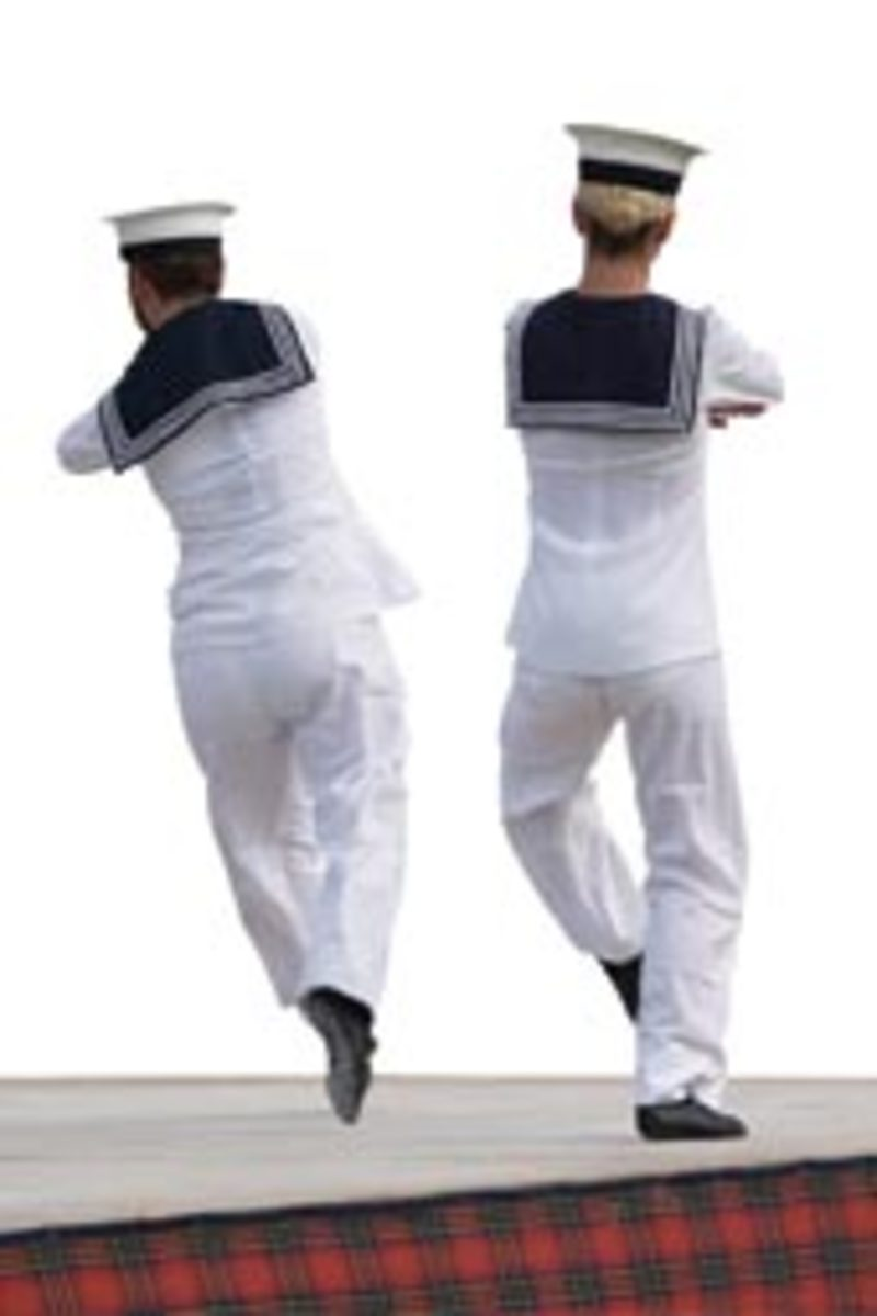 Dancing sailors go to sea in proper uniforms.