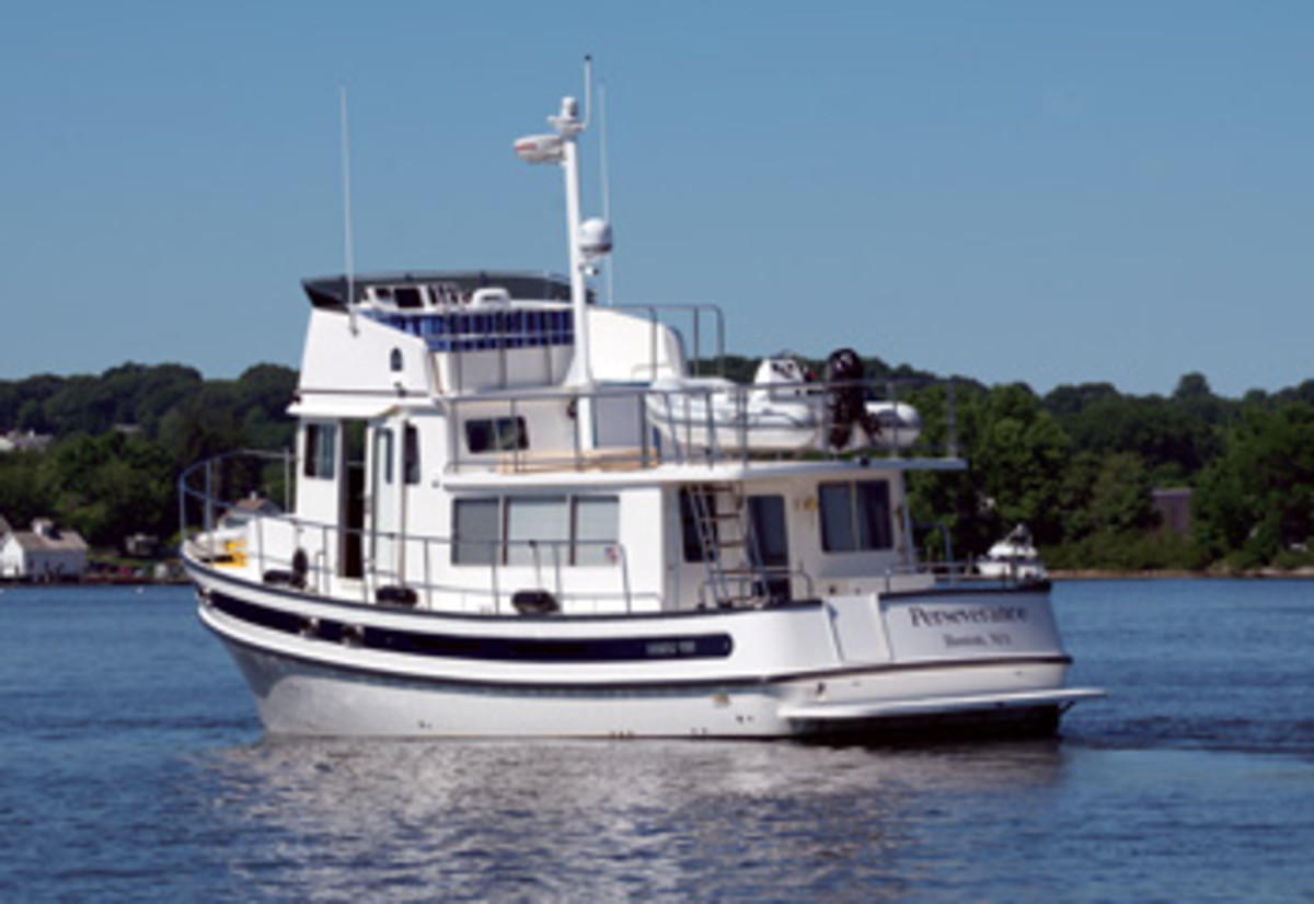 Diesel-powered boats, such as this Nordic Tug 44, can run on biodiesel without engine modifications.