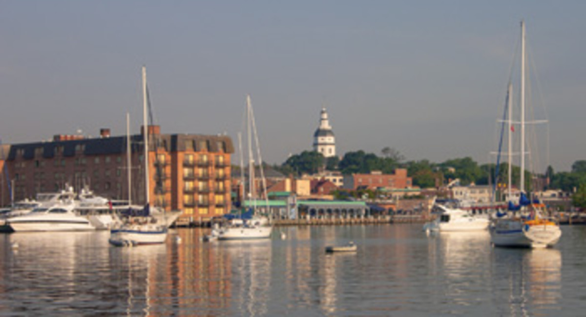 Annapolis Harbor is the center of activity in this historic city.