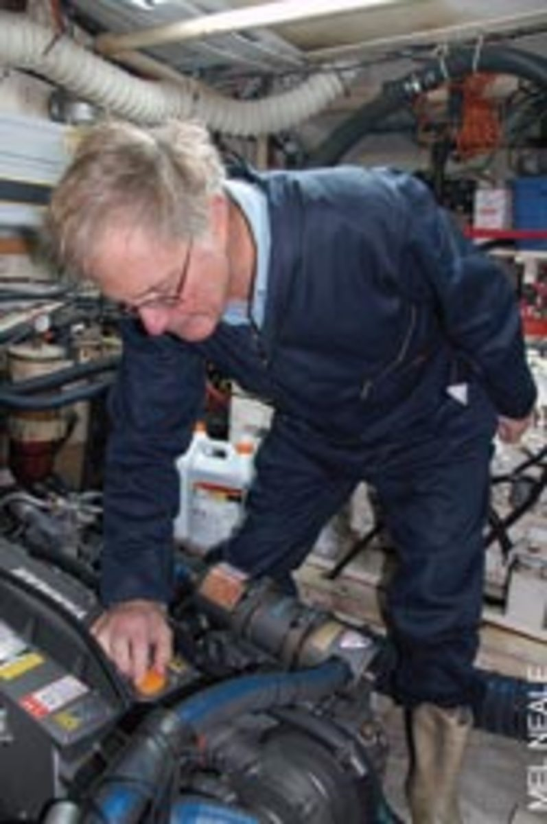 For engine rioom tasks, Tom dons his Dickies.