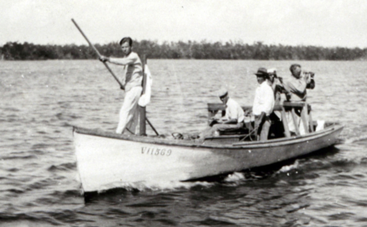 "A surveying team establishes the ""best route"" on the ICW in Florida during the 1930s."