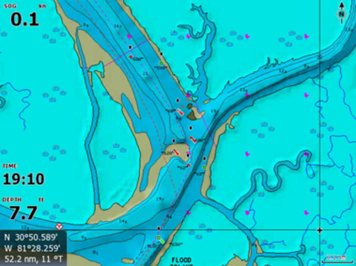 Navionics outdoes NOAA by suggesting two paths that cut the marks and cross the bar.