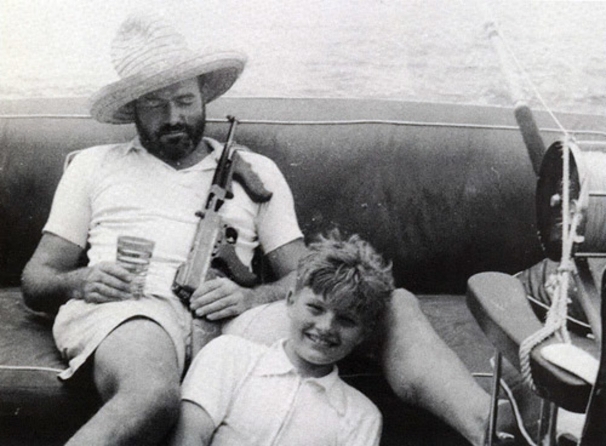 Novelist Ernest Hemingway used to carry a Thompson submachine gun aboard Pilar. He used it to shoot sharks when necessary and leaping stingrays for target practice when drinking.
