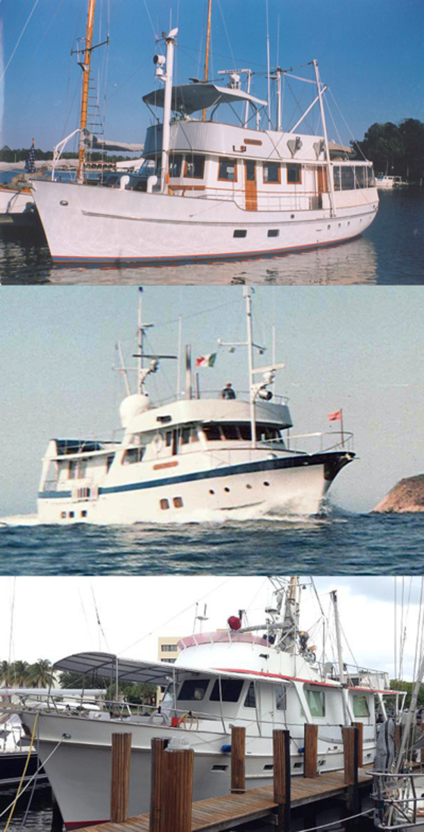 Larry Briggs' three circumnavigators (from top): Champion, Neptune's Chariot and Chartwell. A 1978 Cheoy Lee 55 long-range trawler, Chartwell has been listed by Denison Yacht Sales of Fort Lauderdale with an asking price of $199,000.