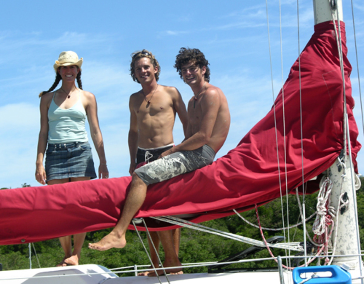New Zealanders Jon van der Hoist Bruyn (center) with his brother Paul and their friend Laura Freeman, of Colorado. This photo was taken just before they crossed the Atlantic on their 37-foot sloop, Double Bruyn.