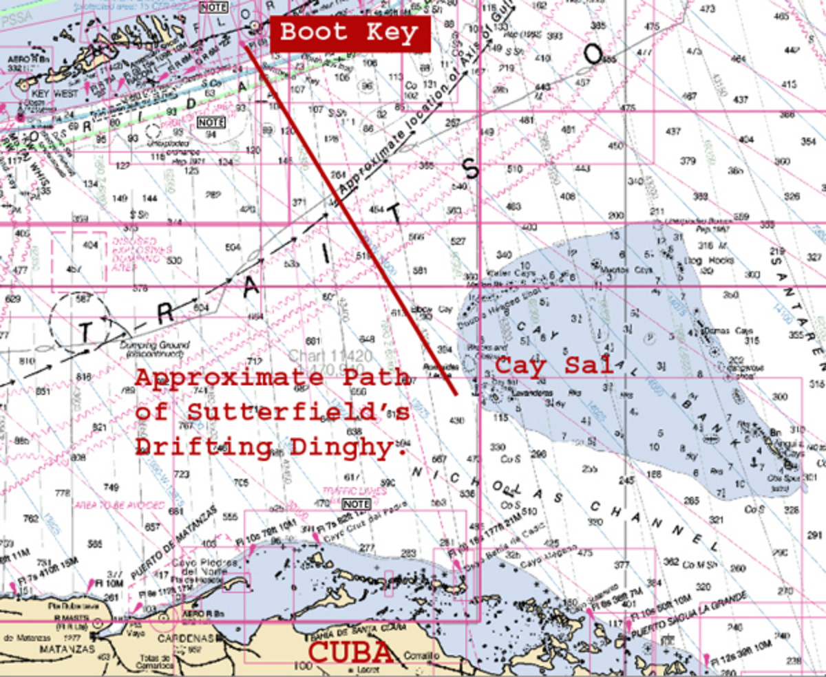 As you can see from this chart, Sutterfield's dinghy would have had to drift on a path athwart the powerful current of the Gulf Stream. Even without a loss of propulsion, the range of a small outboard was nowhere near the 72 miles it needed to travel from Marathon to Cay Sal Bank, even if it were powerful enough to buck the Stream.