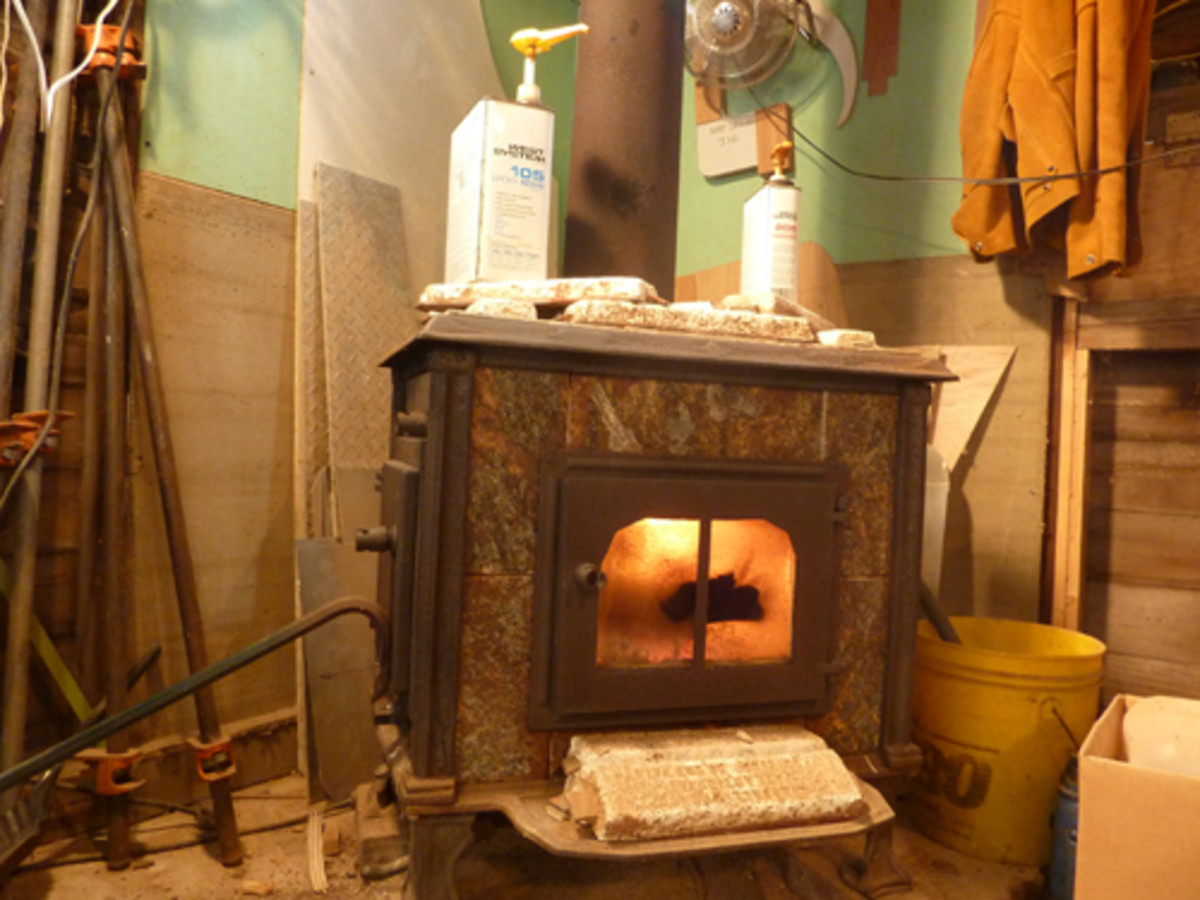 A soap-stone wood stove, old zincs and epoxy warming up.