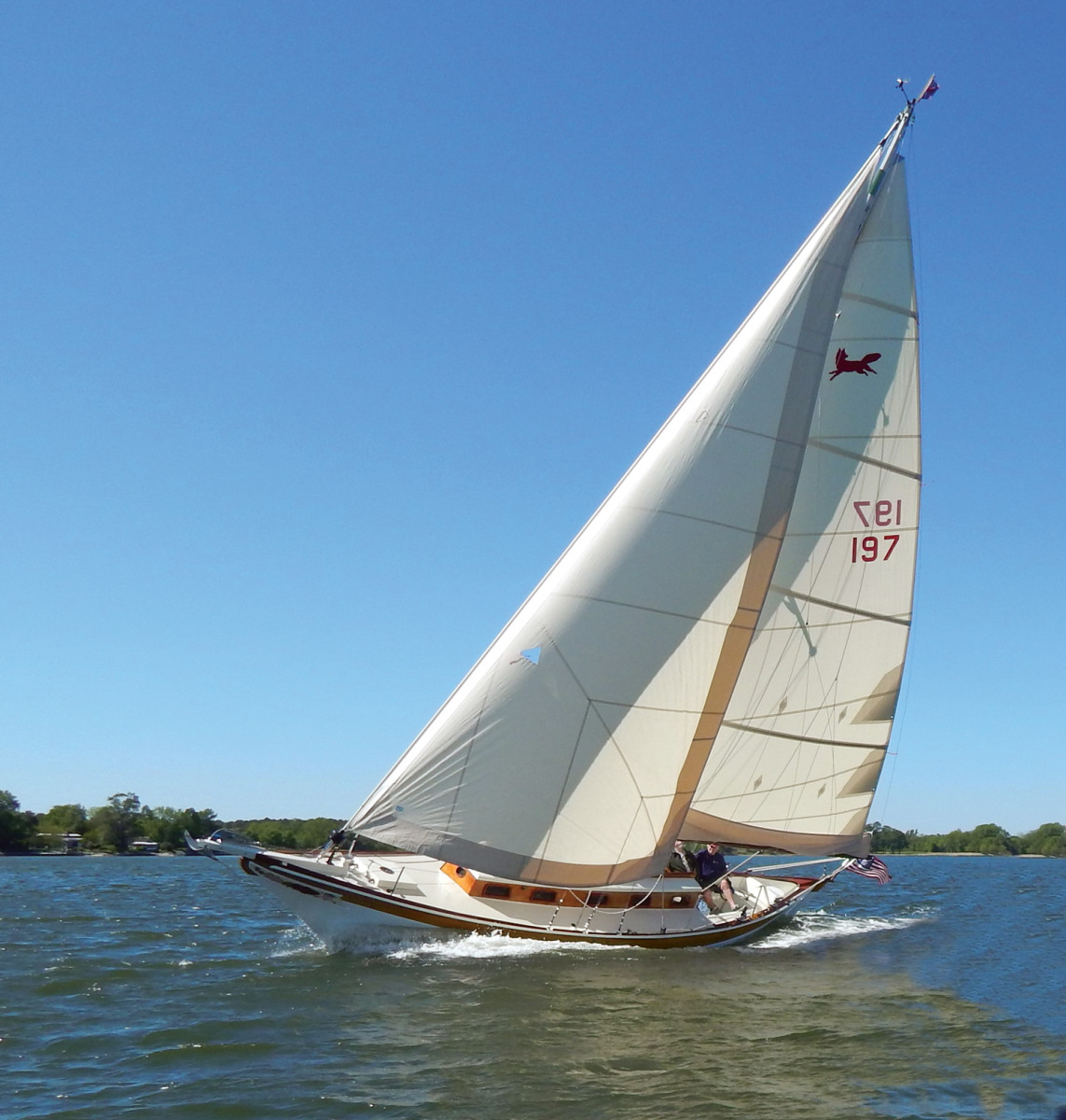 Vixen, a 39-foot, Ralph Wiley-designed Tancook Whaler sloop from 1955, sails for the first time after being restored at Cutts & Case Shipyard.
