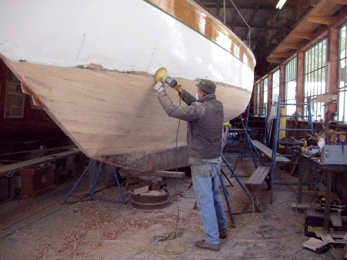 Vixen's new hull was faired smooth before it was sealed with several coats of epoxy and a final barrier coat.