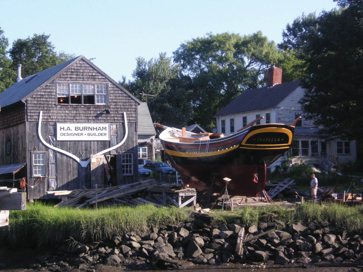 Isabella at Harold Burnham's yard in Essex, Massachusetts. Burnham is descended from generations of shipbuilders.