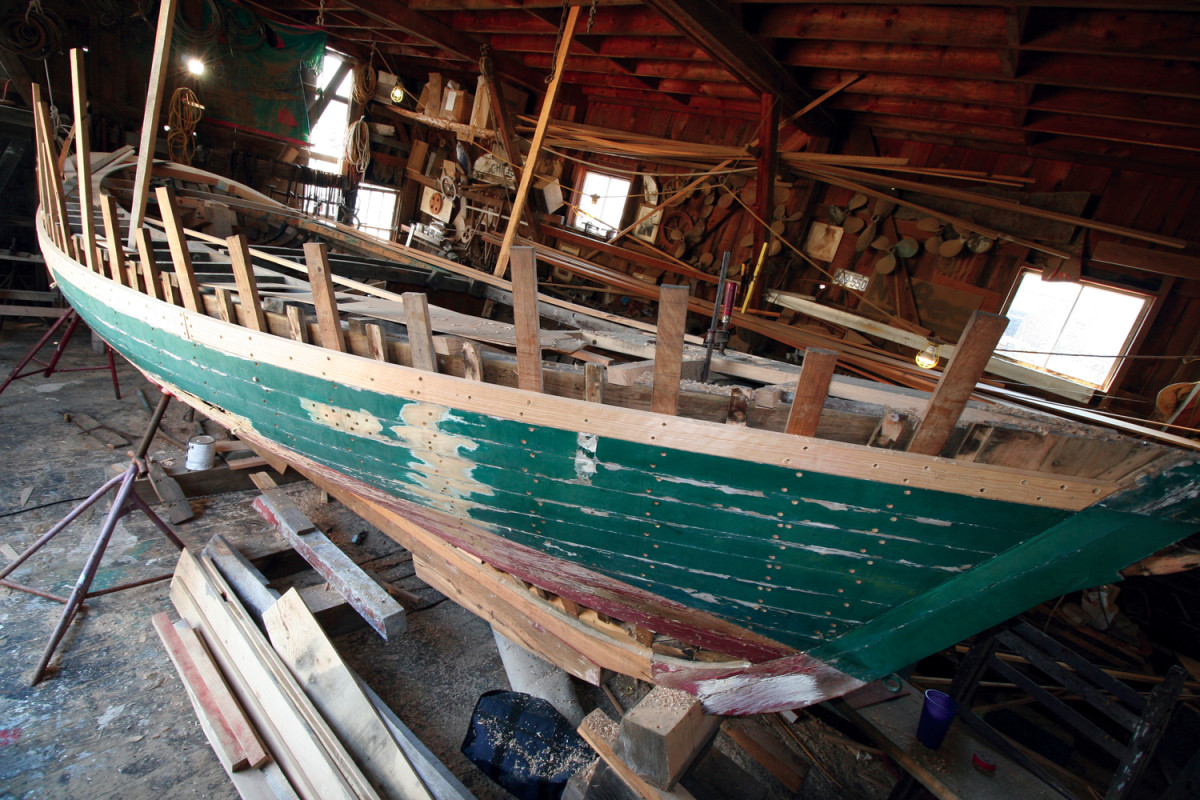 Burnham and his son Alden are restoring Maria, a Friendship sloop built by Burnham's father in the 1970s and named after his mother.