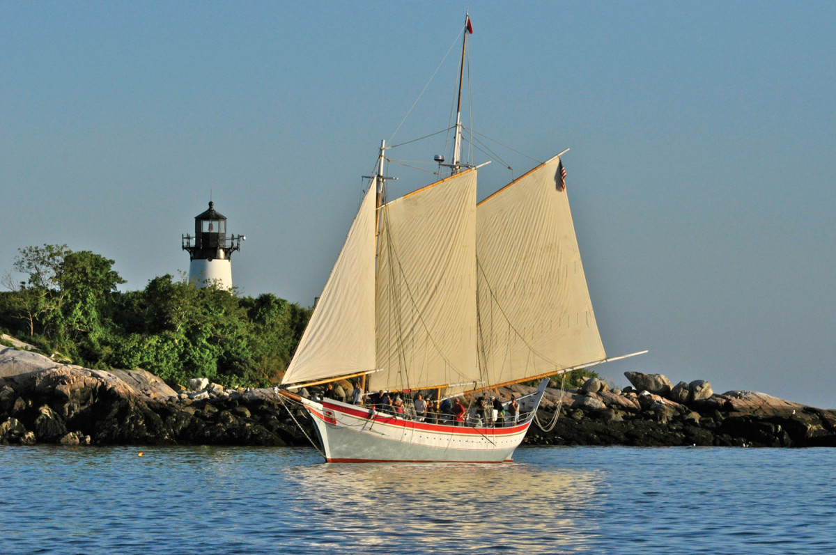 "Burnham built the ""pinky"" schooner Ardelle during a slow period, using recycled lumber and volunteer labor. She works as a tour boat in Gloucester, Massachusetts."