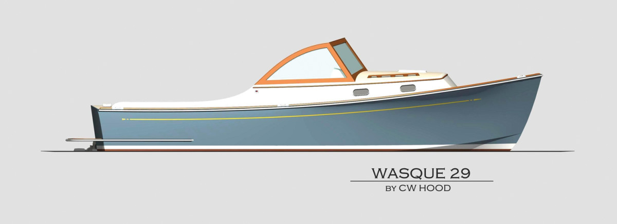 C.W. Hood offers the Wasque 29, a couple's dayboat/overnighter powered by a Yanmar diesel inboard/outboard.