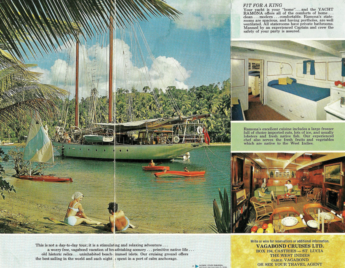 A charter brochure for Ramona shows off her lovely lines and fine accommodations, though not a modern sensitivity to life in a less-developed country.