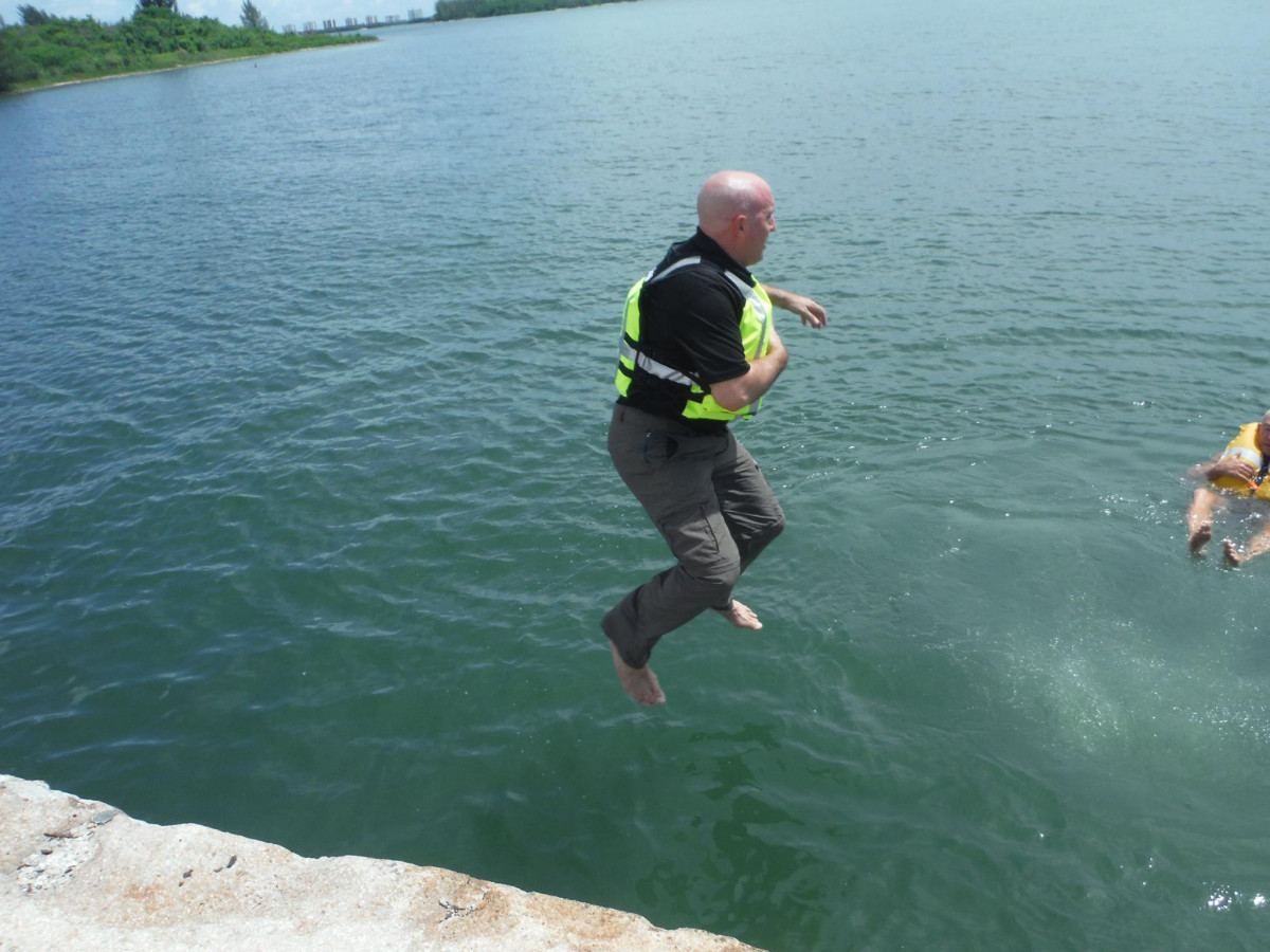 Vittone tests life jackets in South Florida.