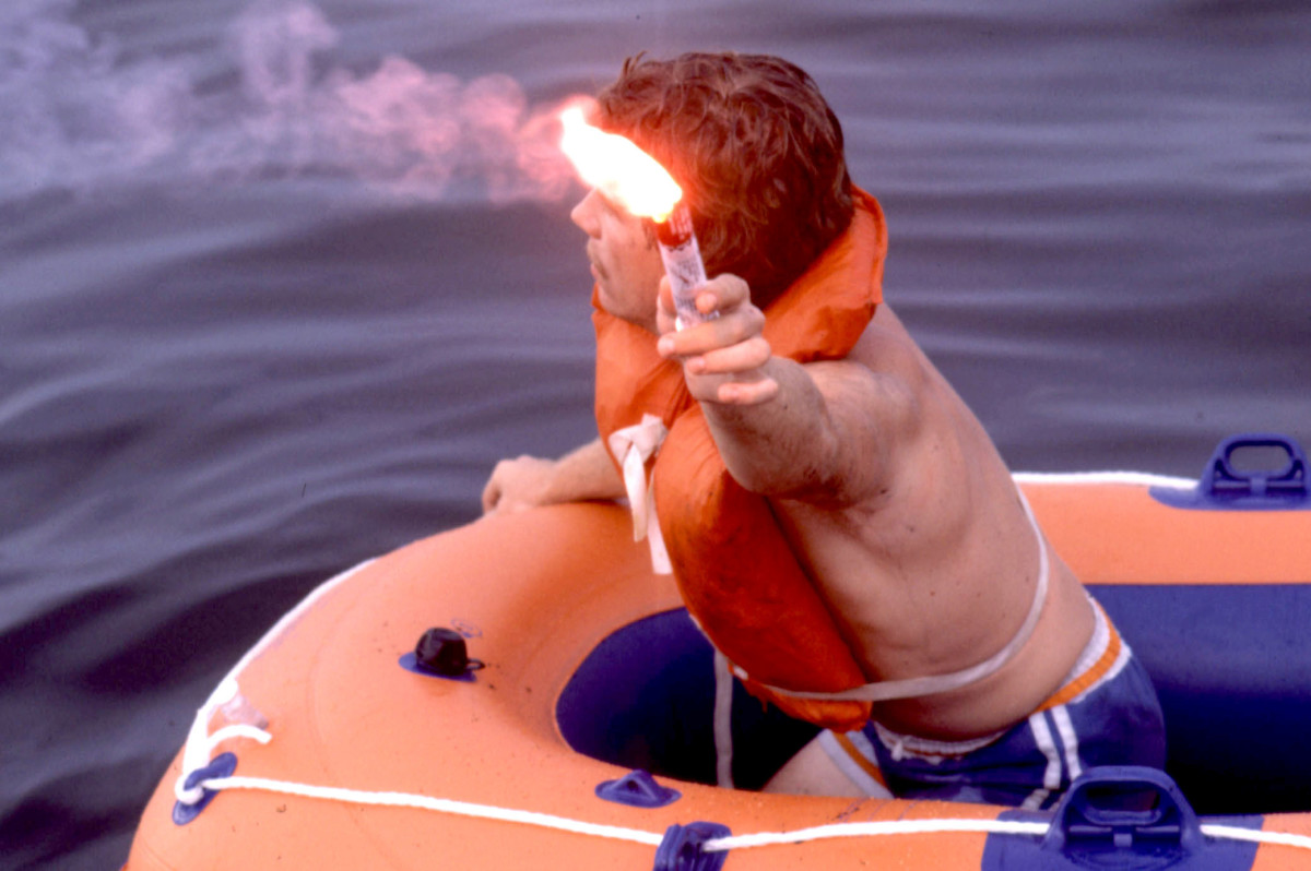 When you set off a flare, don't look at at the flame and be sure to hold it away from your vessel.