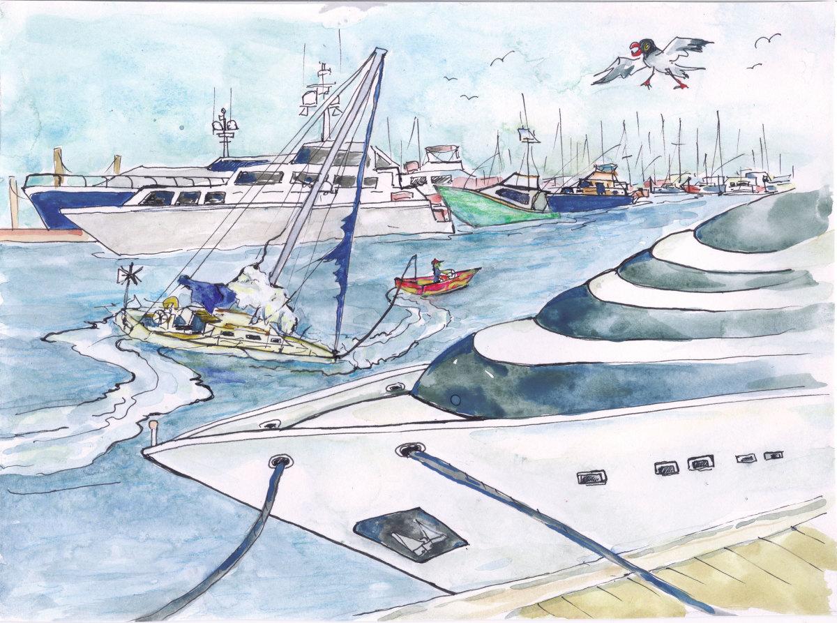 Illustration of boats in marina