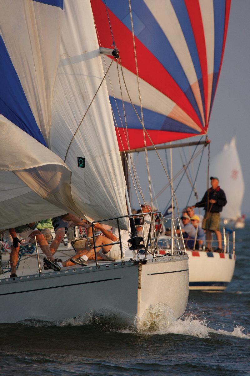 Boats sailing in regatta
