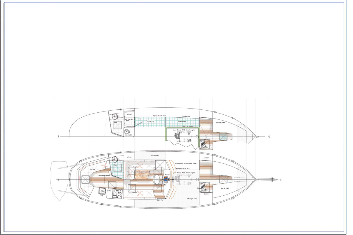 Illustration of the Shearwater 39 Overhead view