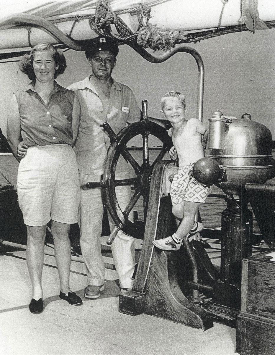 Photo of Lou Boudreau with parents aboard the Caribee