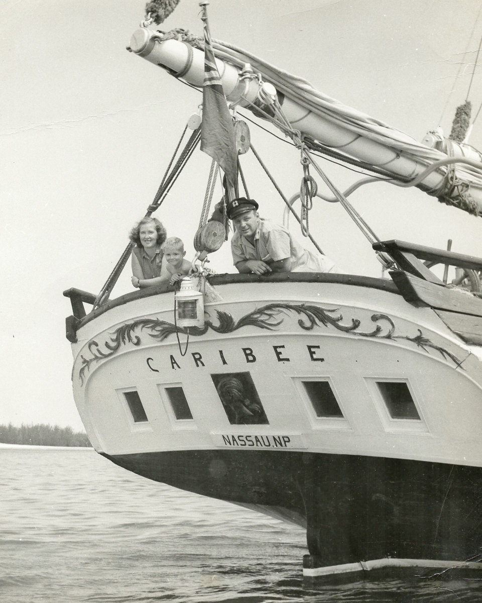 Photo of the author with his mother and father aboard Caribee