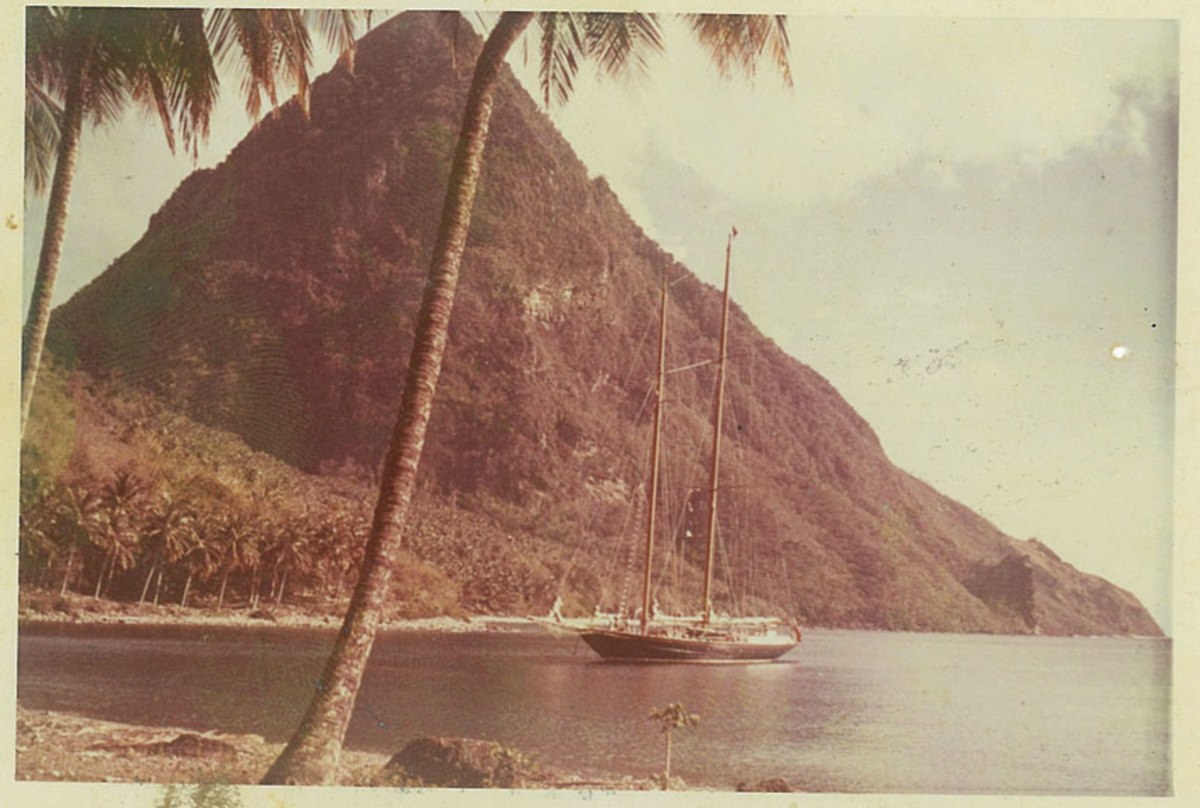 Janeen anchored at the Pitons in St. Lucia.