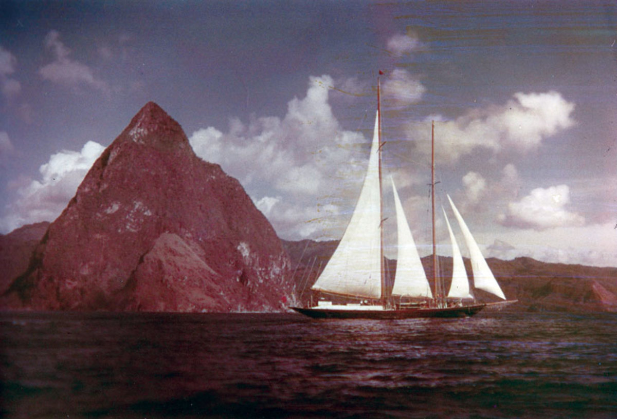 Janeen leaves St. Lucia for the Grenadines. Capable of 14 knots, she has won many races and continues to compete.