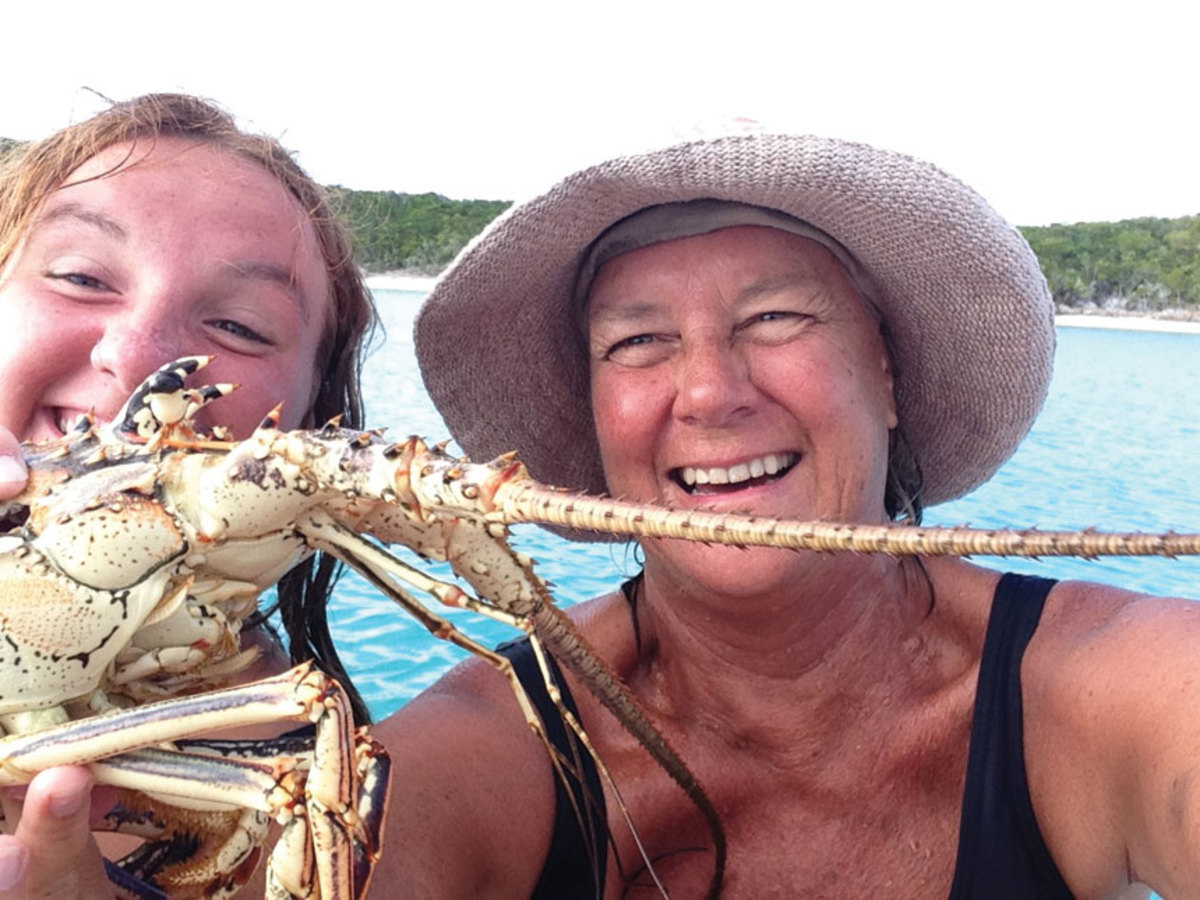 Pat Mundus and niece Luna Crowley are happy with their dinner catch.