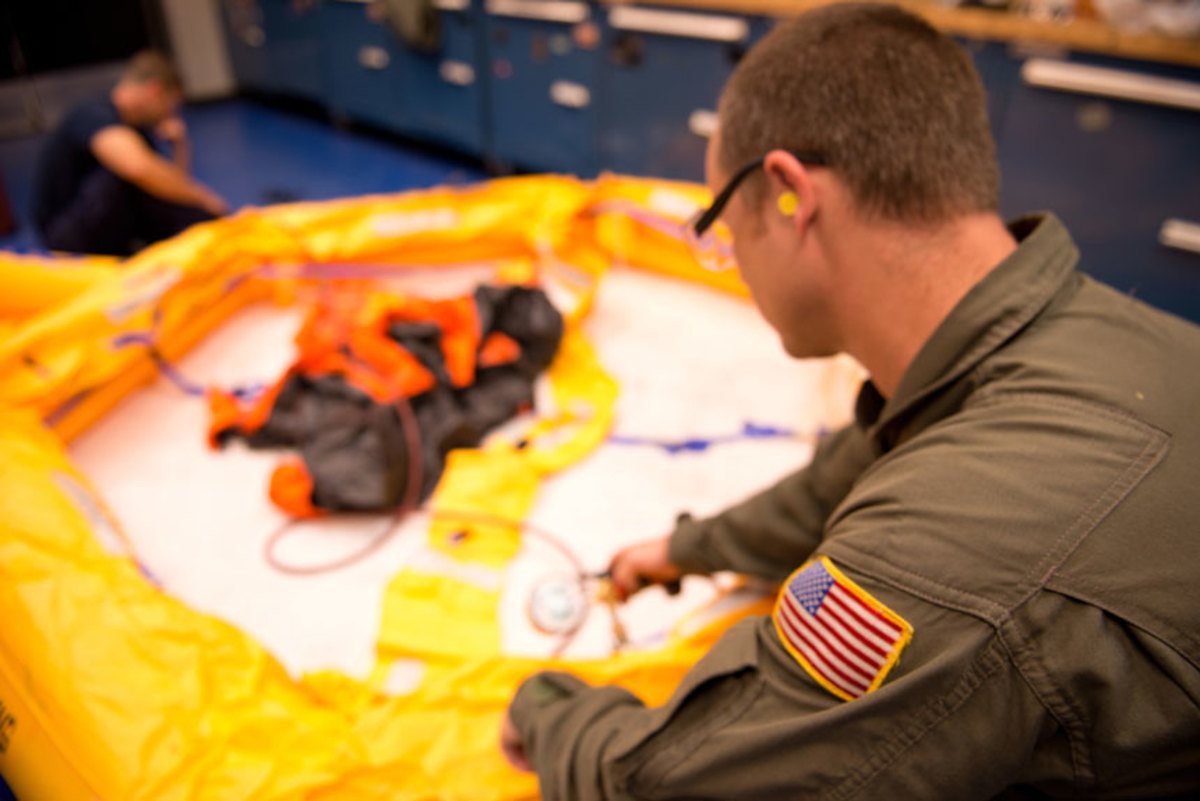 Aviation Survival Technicians inspect and maintain life rafts, life vests etc.