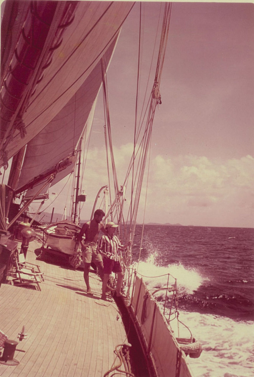 An unidentified flying object took flight from the deck  of the schooner Janeen.